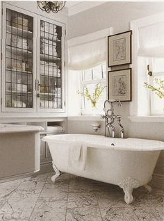 Leaded glass cabinets and marble floor