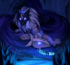 """""""If it draws breath…"""" """"...it meets us."""" kindred by azulity #leagueoflegends"""
