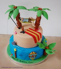 Beach/Tiki Hammock Cake - birthday boy and hammock are polymer clay (so he can keep it in his office after) and everything else is fondant. around the cake is more torches and tiki masks. captaim morgan rum cake with swiss meringue