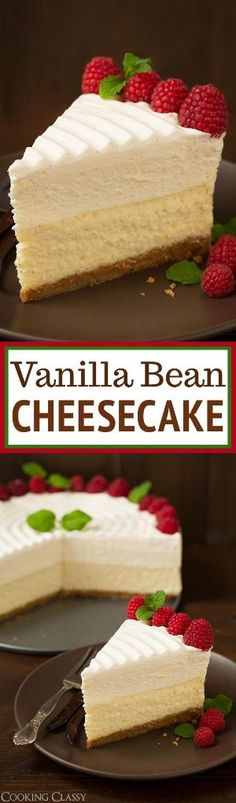 Vanilla Bean Cheesecake (Cheesecake Factory copycat) Recipe via Cooking Classy - this is the BEST CHEESECAKE EVER! Buttery graham crust, decadent vanilla bean cheesecake, sweet white chocolate mousse and fluffy whipped cream topping. Desserts Menu, No Bake Desserts, Just Desserts, Delicious Desserts, Dessert Recipes, Yummy Food, Baking Desserts, Party Recipes, White Desserts