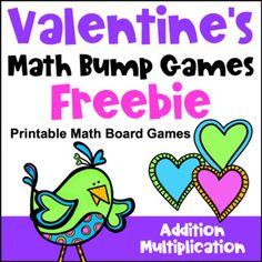 Free Valentine's Day Math Games: Addition and Multiplication Bump Math Board Games, Math Boards, Literacy Games, Math Activities, Multiplication, Subtraction Games, Addition And Subtraction, Love Math, Fun Math