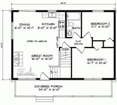 24 x 36 floor plans clickhere for the second floor plan for Log home floor plans with garage and basement