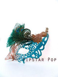 Peacock Teal and Bronze Hera masquerade mask by PipStarPop on Etsy
