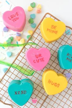 Cute and colorful, these Conversation Heart Cake Bombs are simple to make! Candy-coated chocolate cake with cute little sayings are the perfect way to show loved ones you care this Valentine's Day! Chocolate Coffee, Chocolate Peanut Butter, Chocolate Cake, Valentine Desserts, Valentines Day, Valentines Recipes, Sweet Desserts, Holiday Desserts, Food Styling