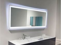 bathroom cool large hanging rectangular bathroom mirror ideas for small bathroom on white painting wall and blue and white lighting also - Large Bathroom Mirror