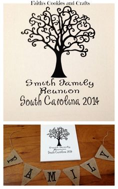 """Family Reunion Thumbprint """"Family Tree"""" canvas - Just need the paint for the thumbprints.  #vinyl, #pennants from #PYP (Thanks to the Pinterest inspiration)"""