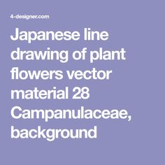 Japanese line drawing of plant flowers vector material 28 Campanulaceae, background