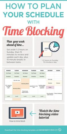 How to Plan Your Schedule with Time Blocking (Plus a Video Tutorial!) This post includes time management tips plus a time blocking template and step by step planner on how to use time blocking to plan your schedule and increase productivity. Click through The Plan, How To Plan, Time Management Strategies, Time Management Skills, Time Management Planner, Time Management Quotes, Time Management For Students, Time Management Worksheet, Literacy Strategies