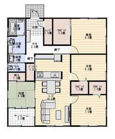 33坪4LDKサンルームのある平屋の間取り   平屋間取り