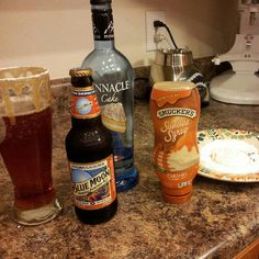 You won't regret this!! Pumpkin ale, vanilla or cake vodka, rim the glass with caramel and powdered sugar!! Holy crap.