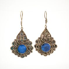 Afghani Tribal Earrings Blue Style 2 by Yapoma on Etsy