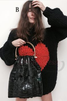 ce4a9b3569 oversized black sweaters with red heart pattern