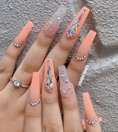 In search for some nail designs and some ideas for your nails? Here is our set of must-try coffin acrylic nails for trendy women. Nail Design Glitter, Nails Design With Rhinestones, Nail Designs Bling, Diamond Nail Designs, Summer Acrylic Nails, Best Acrylic Nails, Summer Nails, Acrylic Nail Art, Aycrlic Nails