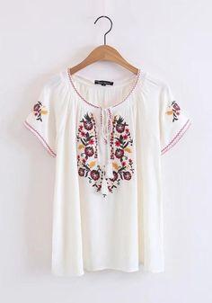 a3391451ea White Embroidery Drawstring Tassel V-neck Bohemian Mexican Cute Blouse