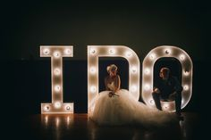 I Do! Bridal portrait with light up letters from vowed and amazed. See more here: http://www.babbphoto.com