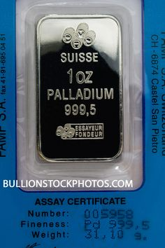 One troy ounce 999.5 fine Palladium bar with assay certificate. Precious metal.