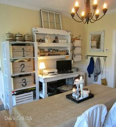 Dining Room nicely turns into a beautiful and functional office space! I ADORE THIS LOOK! / Down to Earth Style: House Tour ~ Space Crafts, Craft Space, Craft Rooms, Palette, Pallet Shelves, Home Office, Office Spaces, Cottage Office, Office Nook