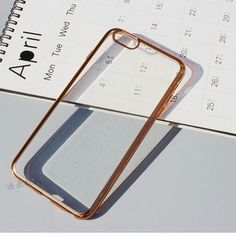 iPhone 7 / 7 Plus Cases Super Thin Plated Frame Transparent Cover Case For Apple iPhone 7 & Plus Luxury Chromed Gold