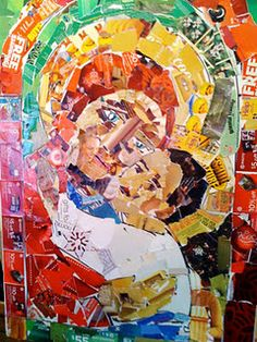 "pinner writes: ""This mosaic image was created by teen and adult artists at church this past Sunday using paper pieces torn from Christmas ads and Christmas sale catalogs we'd been collecting for the past month. The idea was to take things that symbolize the commerciailization and secularization of Christmas and use them to create a sacred Advent icon."""