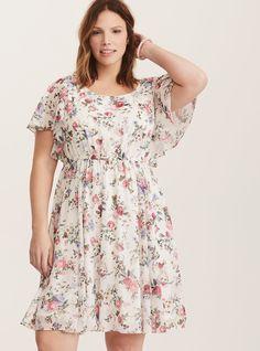 Plus Size Multi-Color Floral Print Chiffon Flutter Sleeve Skater Dress, FLORAL