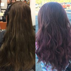 Before and after purple hair