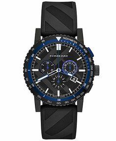 Burberry Watch, Men's Swiss Chronograph The New City Sport Black Rubber Strap 42mm BU9806