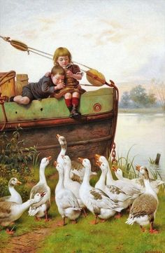 .William Weekes (English artist, 1842–1909) Taunting the Geese