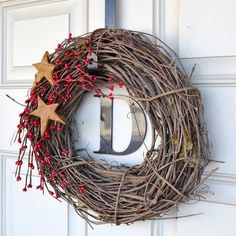 DIY Christmas Wreaths for Front Door - Simple Holiday Twig Wreath - Click Pick for 24 Easy Christmas Decorating Ideas