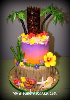 Fun and colorful luau birthday cake made to go along with the party theme and decor. This cake was a surprise and everyone totally loved i. Luau Cakes, Beach Cakes, Party Cakes, Tiki Party, Luau Party, Hawaiian Birthday Cakes, Hawaiian Luau, Hawaiian Theme, Hawaii Cake