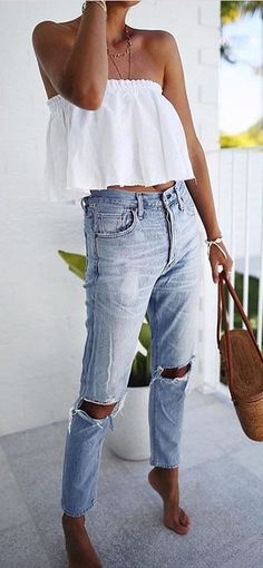 summer outfit idea off shoulder top + ripped jeans