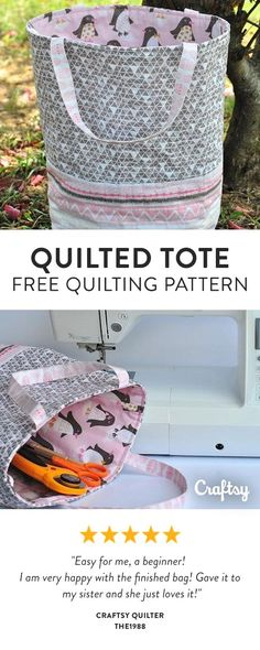 Make a quilted tote that's the ideal size for your sewing tools, a small gift or even your lunch. This quilted bag tutorial for beginners (or anyone looking for a fun and rewarding sewing project) sews up in as little as 1 hour! - Free Beginner Pattern