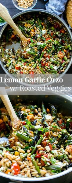 Lemon Garlic Orzo with Roasted Vegetables, feta and pine nuts is packed with texture and flavor. Delicious served warm or chilled and makes fabulous leftovers or addition to a picnic, or pot luck. Vegetarian. | Pasta | Salad | Picnic #vegetariandinnerrecipes