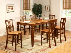 5 Piece gathering table set- high top table With Leaf and 4 kitchen counter chairs Bar Height Dining Table, Modern Dining Table, Small Dining, Dining Table In Kitchen, Dining Room Sets, Dining Tables, Kitchen Counter Chairs, Leather Ottoman Coffee Table, Patio Bar Set