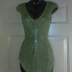 BEBE CROCHETED TOP-SIZE S-NWOT-CUTE!!!!!! -Bebe Crocheted Top -Size Small -Never Worn -Very short sleeves -Olive green colored -SUPER CUTE -100% Rayon Bebe Tops
