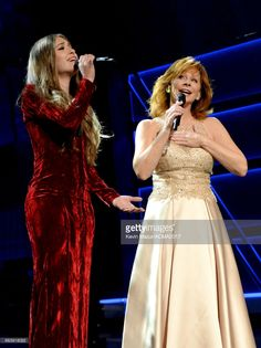 Recording artists Lauren Daigle (L) and Reba McEntire perform onstage during the 52nd Academy Of Country Music Awards at T-Mobile Arena on April 2, 2017 in Las Vegas, Nevada.