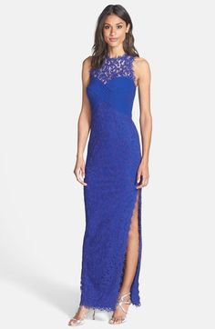Tadashi Shoji Pintuck Panel Lace Column Gown available at #Nordstrom