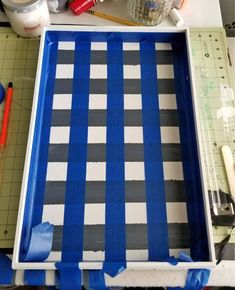 Learn how to paint buffalo plaid easily on wood with some chalk paint and painter's tape. Watch a video tutorial on how I updated a thrift store find!