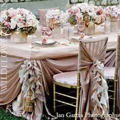 Love the chair and table cloth decor - stunning!