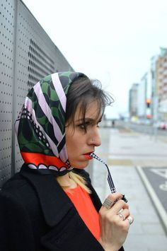 Classic head scarf, tied under chin