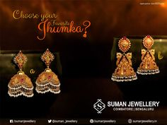 Enhance her  look with these  eardrops. Choose which one you would love to gift your loved ones. Gold Jhumka Earrings, Indian Jewelry Earrings, Gold Bridal Earrings, India Jewelry, Temple Jewellery, Bridal Jewelry, Jhumka Designs, Gold Earrings Designs, Pearl And Diamond Necklace