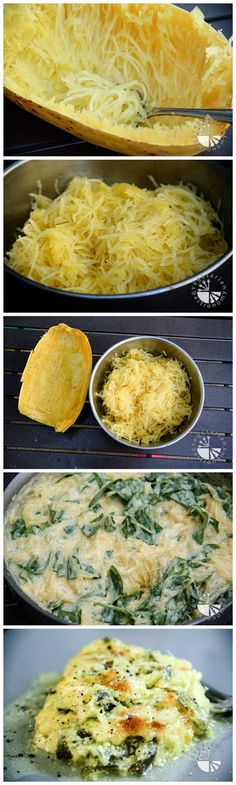 Baked Spaghetti Squash w/Cheddar Cheese & Spinach (contains dairy, contains gluten) (could substitute Gruyere )