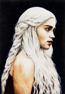 Dibujo de Daenerys Targaryen, protagonista en la serie juego de troos, con lapices de colores, me gusta como representa tan bien la forma original. Autor: Pablo Fernandez Rivera