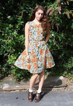 Vintage 80s Floral Button Down Sun Dress