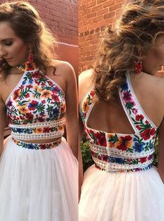High Neck Two Piece Floral Embroidery White Long Prom Dress Prom Dresses Evening Dress Prom Gowns Formal Women Dress prom dress Short Beach Dresses, Prom Dresses Two Piece, Sweet 16 Dresses, Formal Dresses For Women, Homecoming Dresses, Prom Gowns, Dress Prom, Colorful Prom Dresses, Floral Prom Dresses