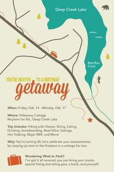 Weekend getaway invitation