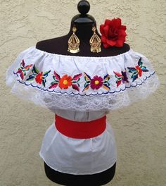 Details about Mexican Embroidered Blouse On/Off Shoulder w/small Sash. Blusa…