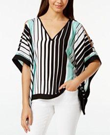 BCX Juniors' Striped Slit-Sleeve Poncho Top