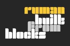 This unique display font is build from blocks. It can be used for various purposes such as; headings, logos, posters,... Free Fonts Download, Font Free, Marketing Flyers, All Fonts, Premium Fonts, Flyer Design, Cricut Design, Improve Yourself, Display