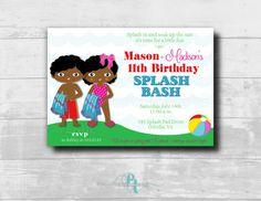 Twins Splash Bash Party Invitation #poolparty #twins #twinspartyinvitation