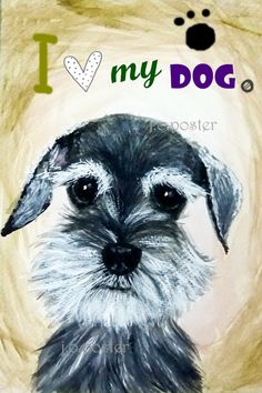20x30 inch face schnauzer dog art by joArtwork on Etsy, $28.00-this look a lil like bruno but with small beard.weird because hes a miniture doberman pinscher and poodle.hes also brown